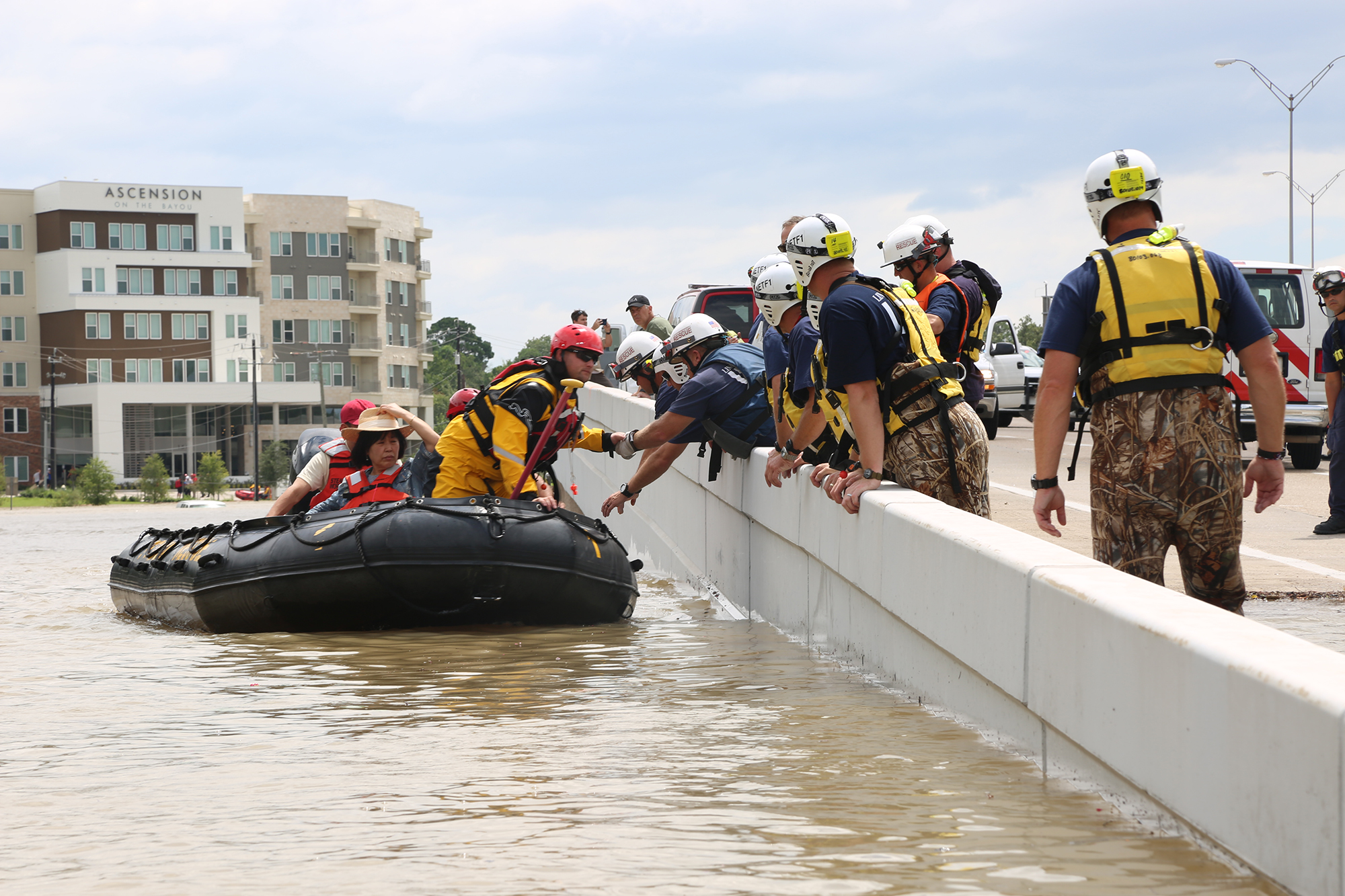 Members of FEMA's Urban Search and Rescue Nebraska Task Force One (NE-TF1) perform one of many water rescues in the aftermath of Hurricane Harvey
